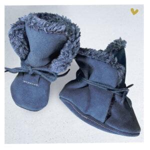 papuci piele cu blana pentru copii