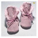 papucei piele cu blana nou nascuti